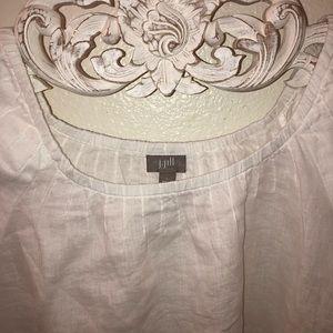 j Jill white pleated cap sleeve linen top Az L
